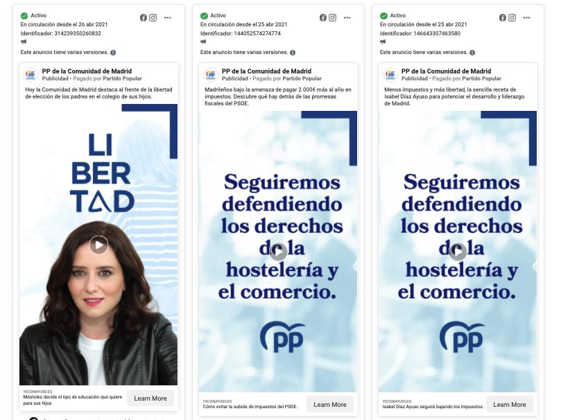 Publicidad en Redes Sociales del PP Madrid