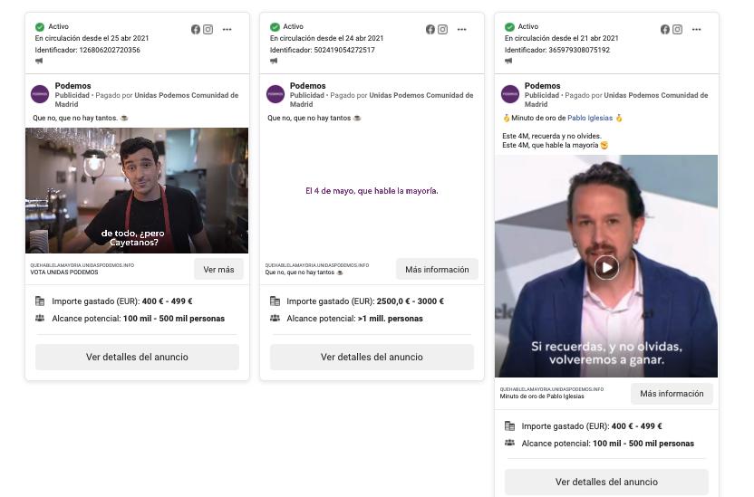 Campaña publicidad Podemos Madrid en Redes Sociales