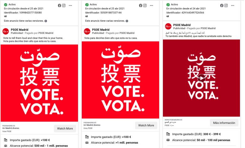 Publicidad PSOE Madrid en Redes Sociales