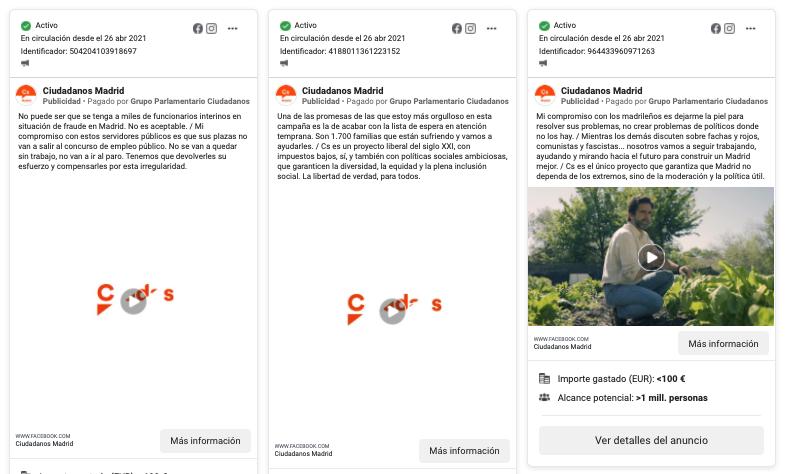 Publicidad digital de Ciudadanos Madrid