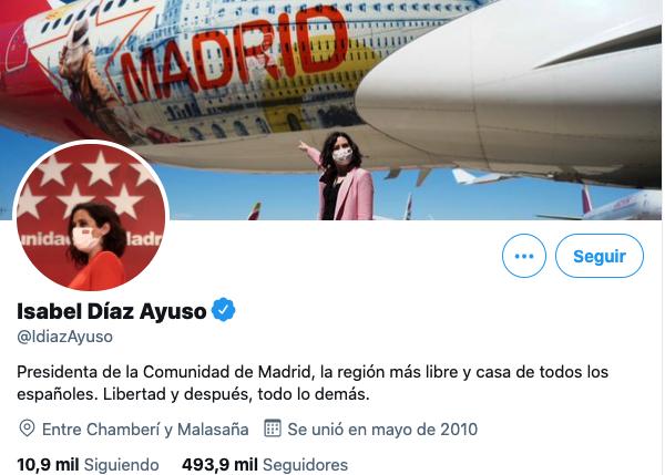 Perfil de Twitter de Isabel Díaz Ayuso
